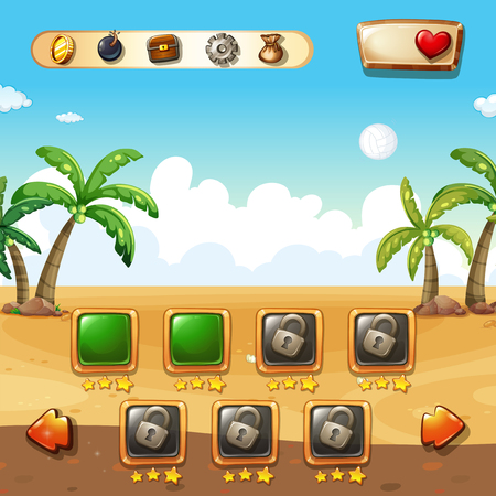 game icon: Game template with beach background illustration Illustration