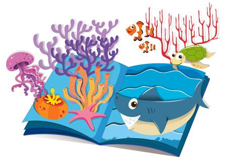 clownfish: Book of underwater and sea animals illustration Illustration
