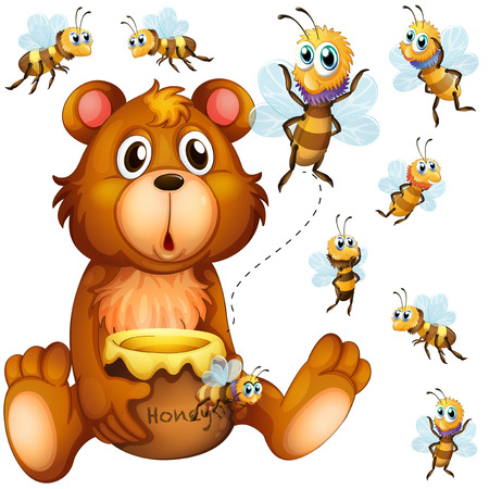 Bear holding honey jar and bees flying around illustration