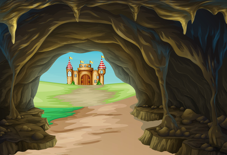fantacy: View of cave and castle illustration