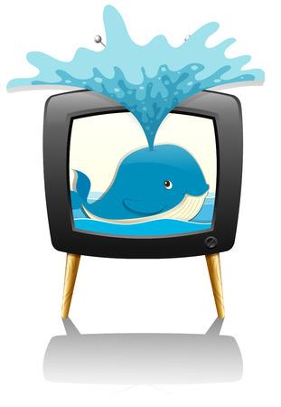 splashing water: Whale splashing water out of television illustration