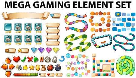 Game elements and template illustration Stock Illustratie