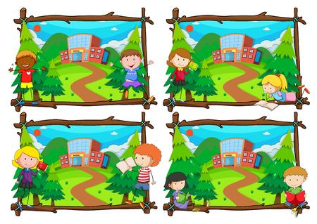 Four scenes of children going to school illustration