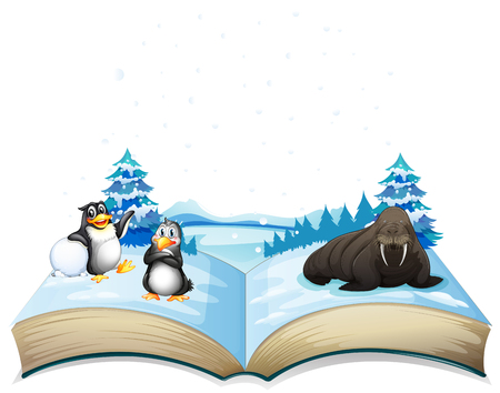 Book of sea lion and penguins on ice illustration
