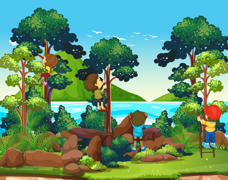 climbing mountain: Children climbing up the tree illustration