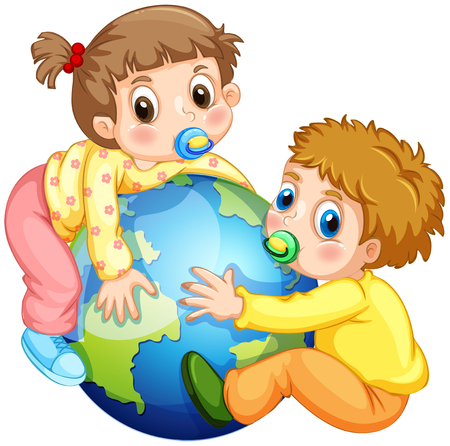 baby isolated: Toddlers boy and girl hugging the earth illustration