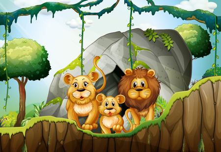 cartoon zoo: Lion family living in the jungle illustration
