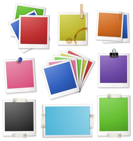 papel de notas: Diverso diseño de marcos de fotos ilustración