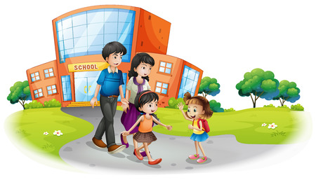college girl: Family members in front of the school illustration