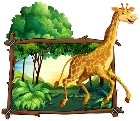 giraffe frame: Giraffe running in the forest illustration