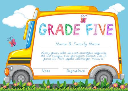 transporte escolar: Certificado con el fondo del autob�s escolar en la ilustraci�n parque Vectores