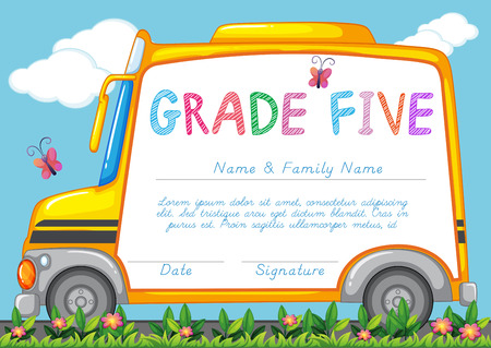 driving school: Certificate with background of schoolbus in the park illustration