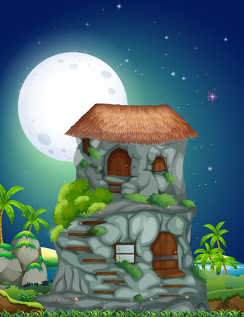 fields  grass: Nature scene of stone house at night illustration