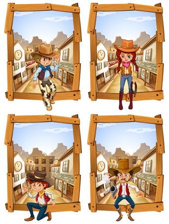 vaqueras: Cuatro escenas de vaqueros e ilustración vaquera