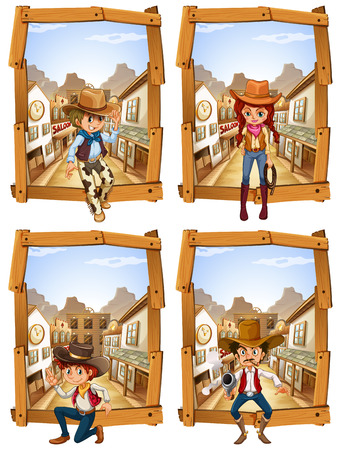 Four scenes of cowboys and cowgirl illustration