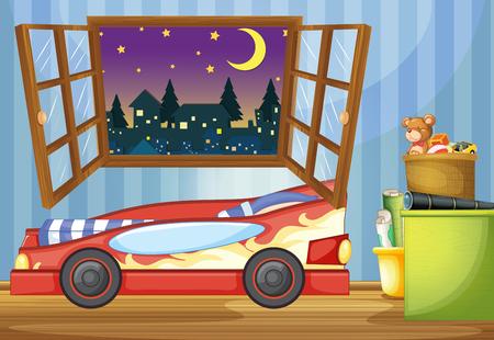 bedroom bed: Kid bedroom with car shaped bed illustration Illustration