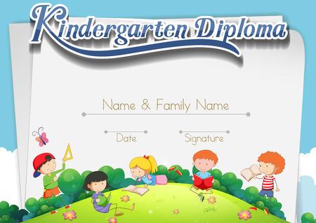 Certyfikat szablonu z dziećmi w parku ilustracji