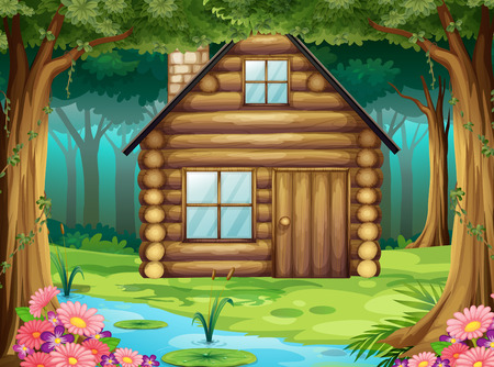 Wooden hut in the forest illustration