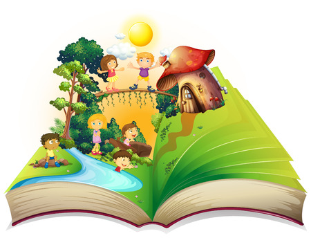 river cartoon: Book of children playing in the park illustration Illustration