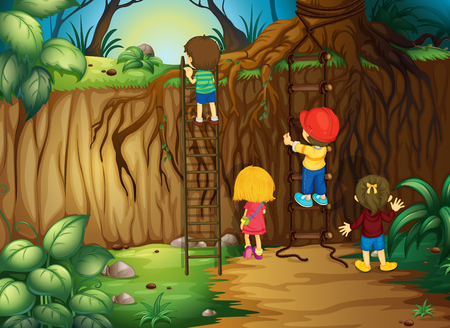 climb: Children climbing up the ladder in the woods illustration Illustration