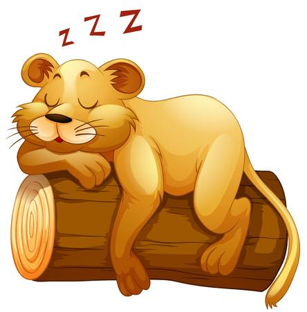 log on: Little lion cup sleeping on the log illustration Illustration