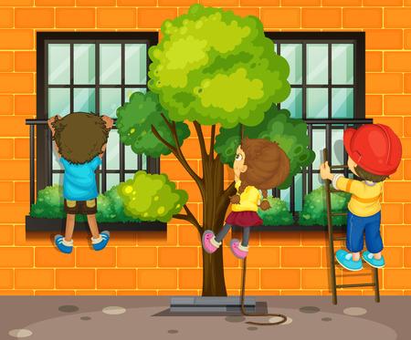 rope ladder: Three children climbing up the window illustration