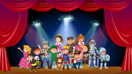 Children wearing costume on stage illustration