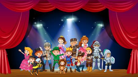 niños actuando: Los niños llevaban traje en el escenario de la ilustración