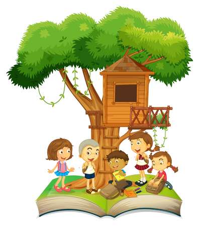 Book of children and treehouse illustration Ilustrace