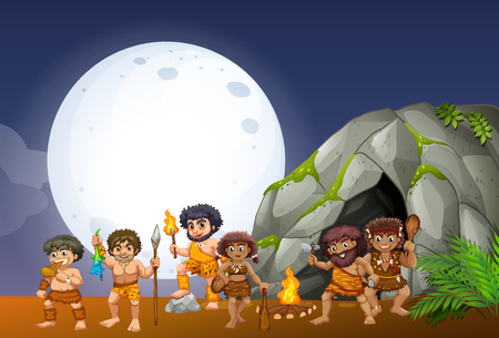clipart: Caveman living in the cave illustration