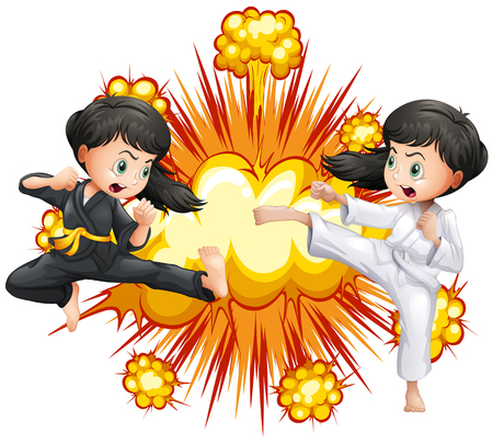 kungfu: Two girl in kungfu outfit fighting illustration Illustration