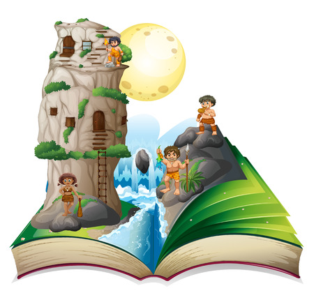 magic book: Magic book of cave people by the waterfall illustration