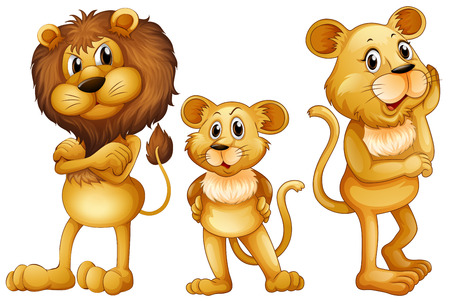 standing lion: Lion family standing together illustration