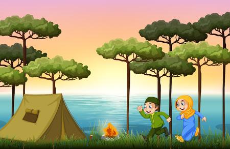 dessin enfants: couple, le camping musulman dans les bois illustration