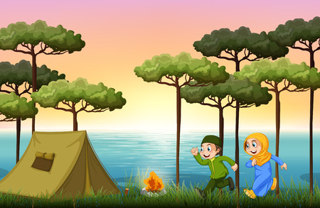 children drawing: Muslim couple camping in the woods illustration Illustration