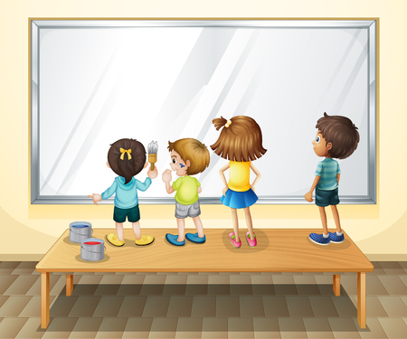 children painting: Children painting on the whiteboard illustration
