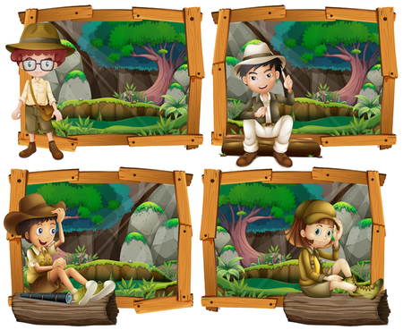 jungle boy: Boys and girl camping in the woods illustration