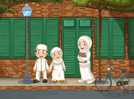 kids background: Muslim people standing on the road illustration Illustration