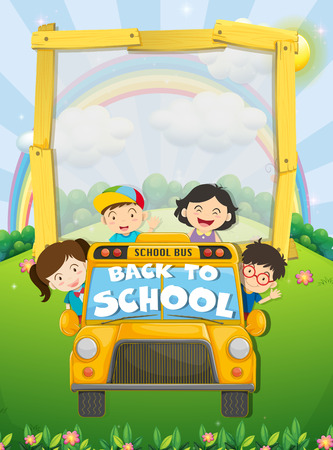 schoolbus: Children riding on school bus illustration Illustration