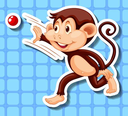 red ball: Little monkey throwing red ball illustration Illustration