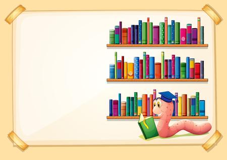 Border-Design mit Buchillustration Wurm Lesung Standard-Bild - 51403761
