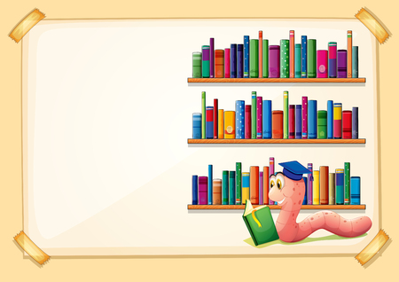 book worm: Border design with worm reading book illustration