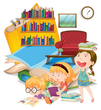 three girls: Three girls reading books together illustration