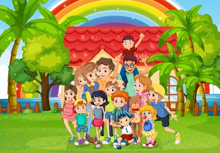 family members: Family members standing in the park illustration