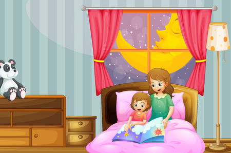 bedtime story: Mother telling bedtime story at night illustration Illustration