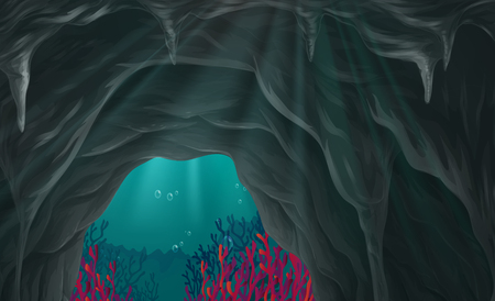 marine scene: Nature scene of cave under the sea illustration