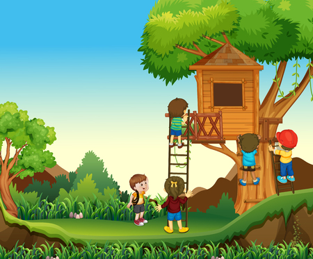 climbing up: Children climbing up the treehouse illustration