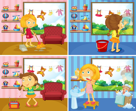 doing chores: Girl doing chores in the house illustration