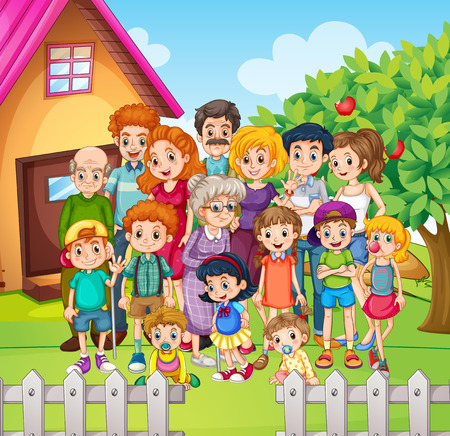Family members standing in the yard illustration Illustration
