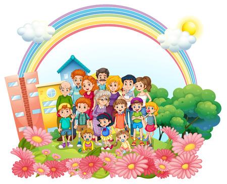 family park: Family members standing in the garden illustration Illustration
